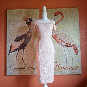 Rachel Roy Blush Lace Cold Shoulder Body Con Dress